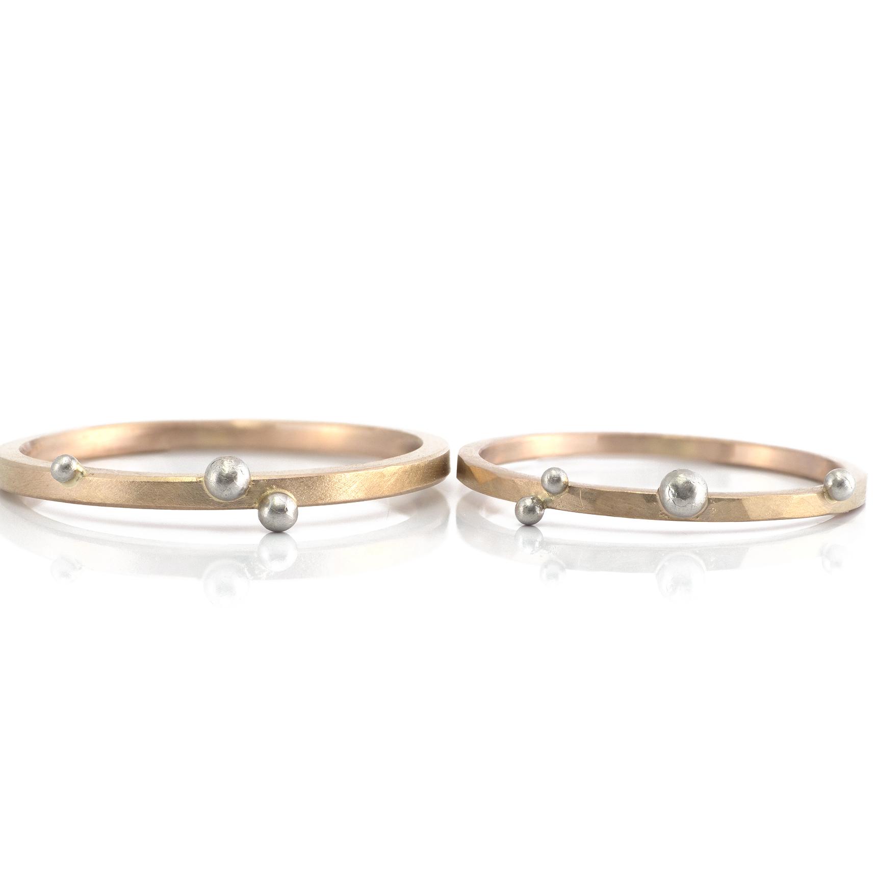 しずく結婚指輪 2本並んで ゴールド、プラチナ 屋久島でつくる結婚指輪
