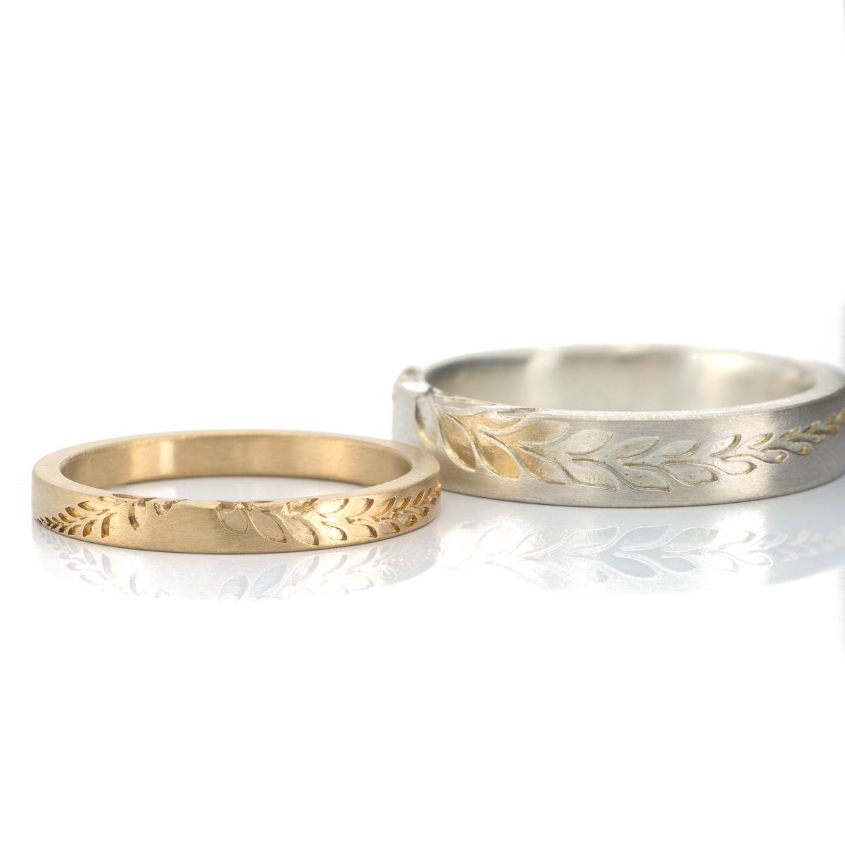 fern ring 2.0mm and 4.0mm square  #シダの指輪 #屋久島でつくる結婚指輪