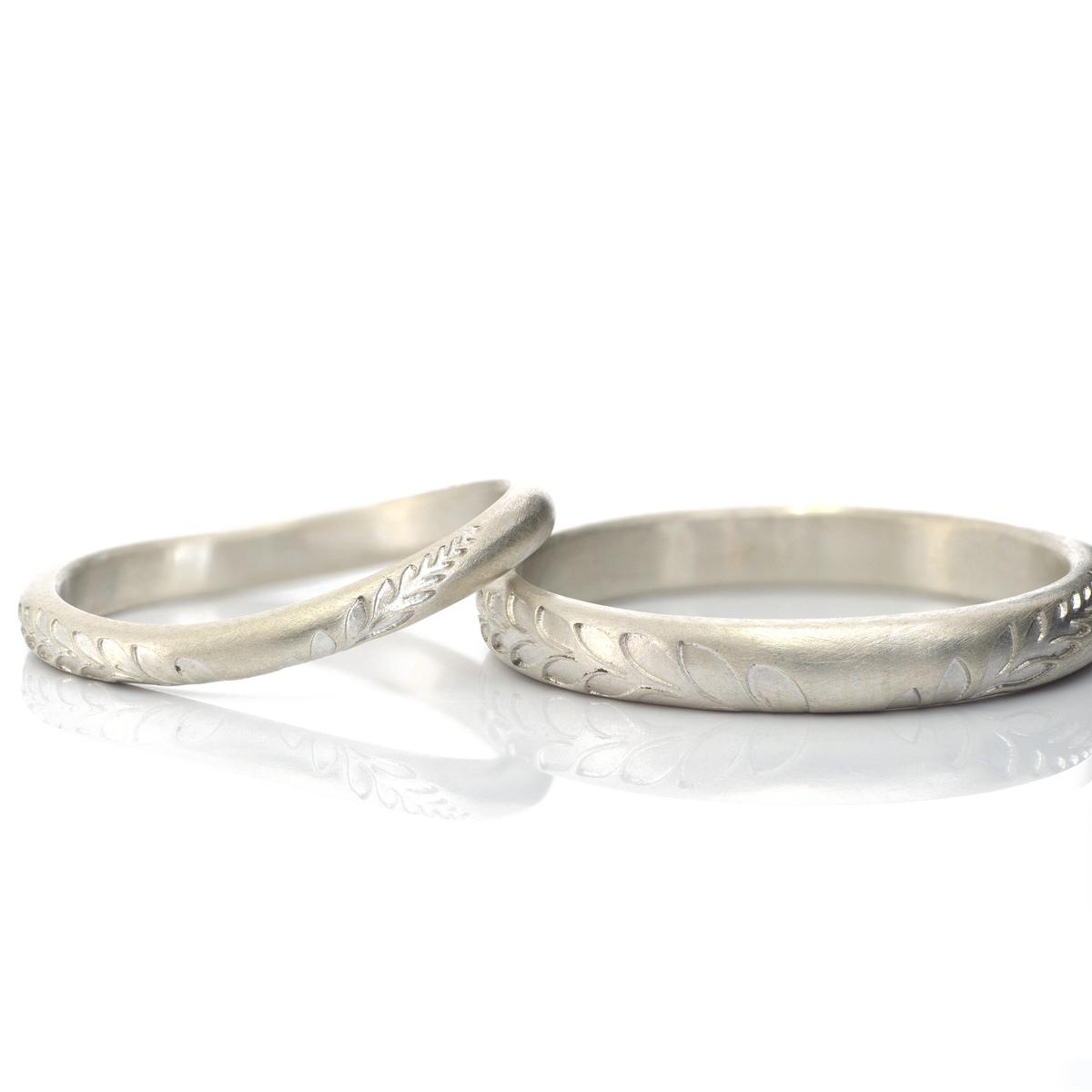 オーダーメイドマリッジリング シルバー 屋久島のシダモチーフ 屋久島でつくる結婚指輪