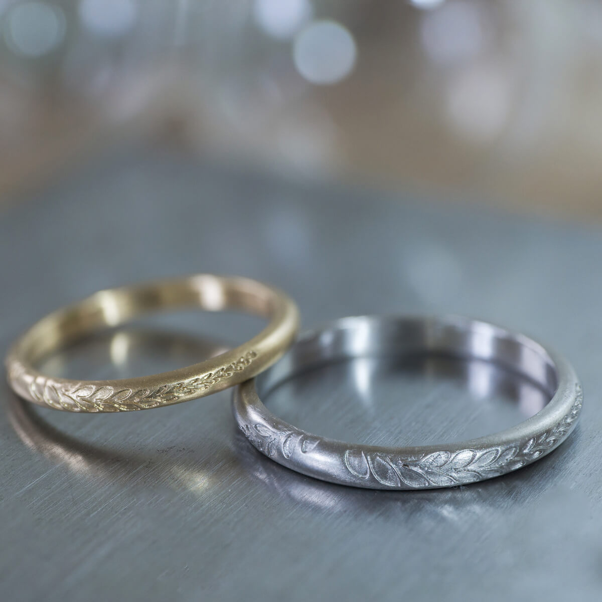 オーダーメイドマリッジリング ジュエリーのアトリエ プラチナ、ゴールド 屋久島のシダモチーフ 屋久島でつくる結婚指輪