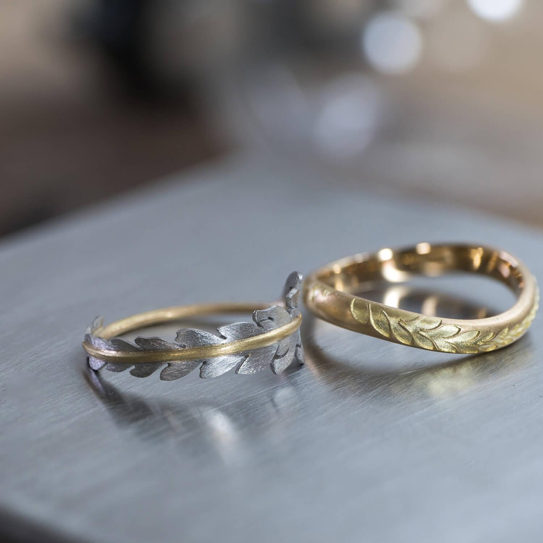 オーダーメイドマリッジリング ジュエリーのアトリエ ゴールド、プラチナ 屋久島のシダモチーフ 屋久島でつくる結婚指輪