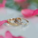オーダーメイドマリッジリング 屋久島の緑バック 屋久島の山茶花とともに ゴールド、プラチナ 屋久島のシダモチーフ 屋久島でつくる結婚指輪