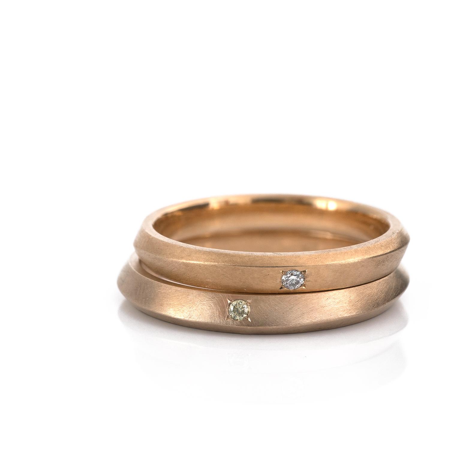 オーダーメイドマリッジリング ゴールド、ダイヤモンド 屋久島でつくる結婚指輪