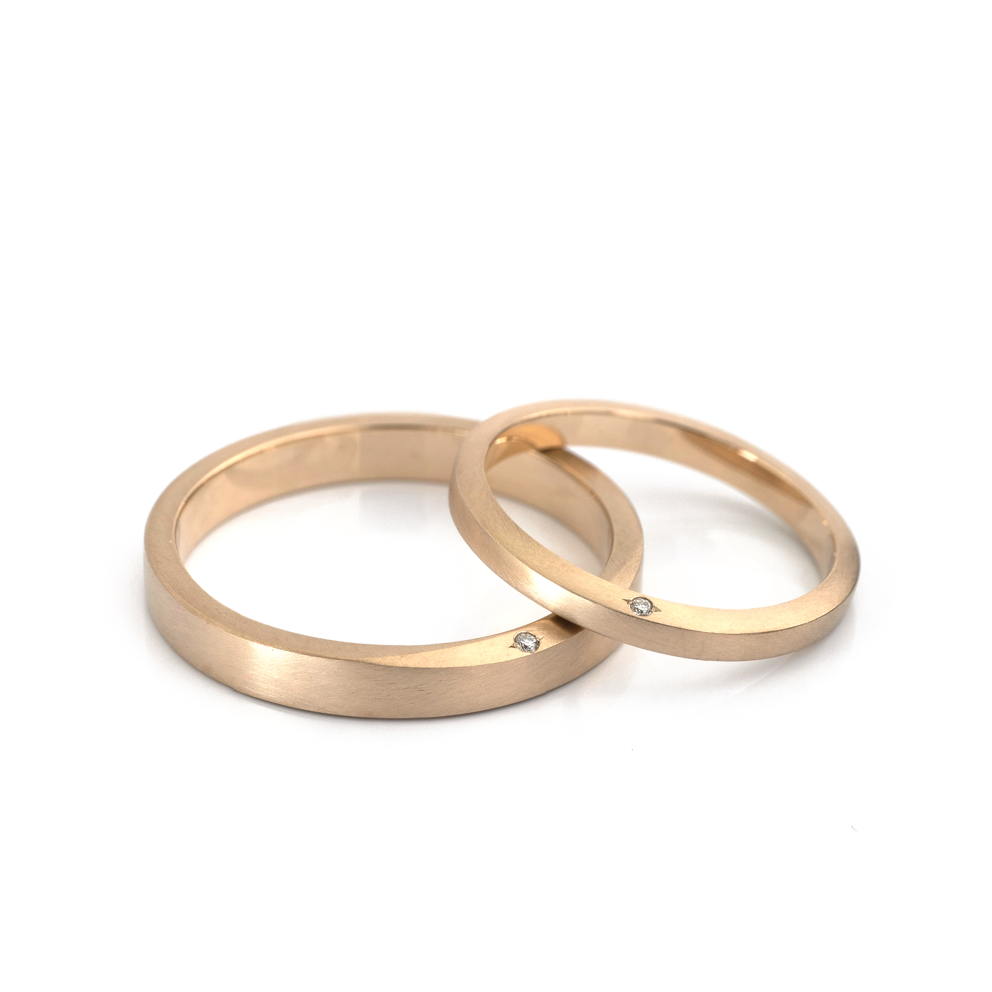 オーダーメイドマリッジリング 白バック ゴールド、ダイヤモンド 屋久島でつくる結婚指輪