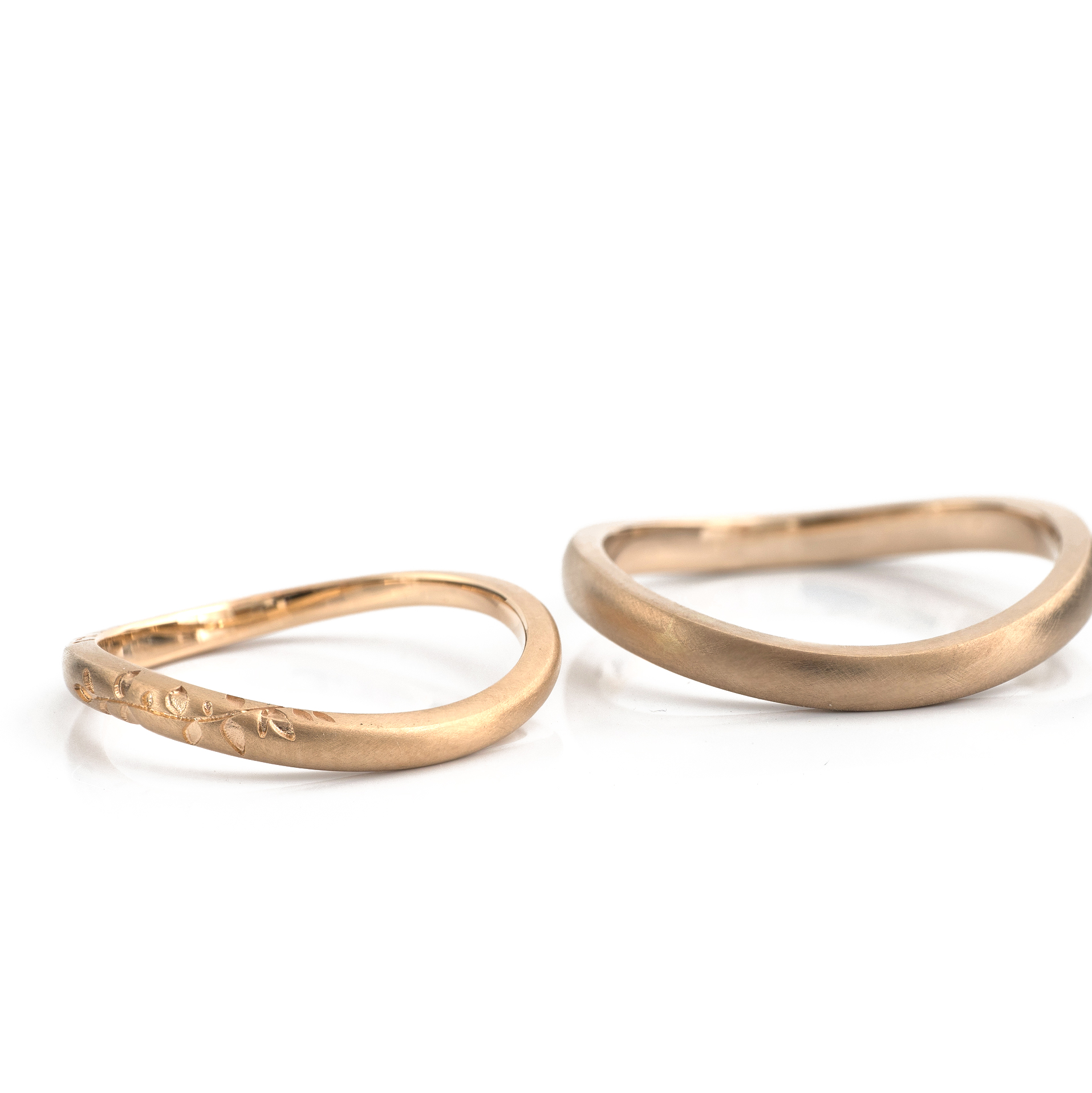 "yellow gold and champagne gold ""wave ring"" with one-of-a-kind botanical pattern"