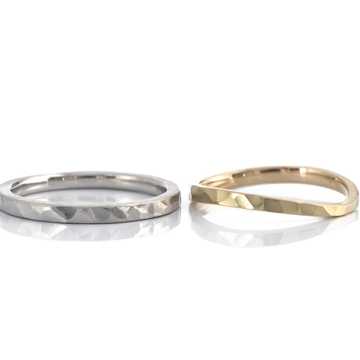 オーダーメイド結婚指輪 白バック プラチナ、ゴールド 屋久島でつくる結婚指輪