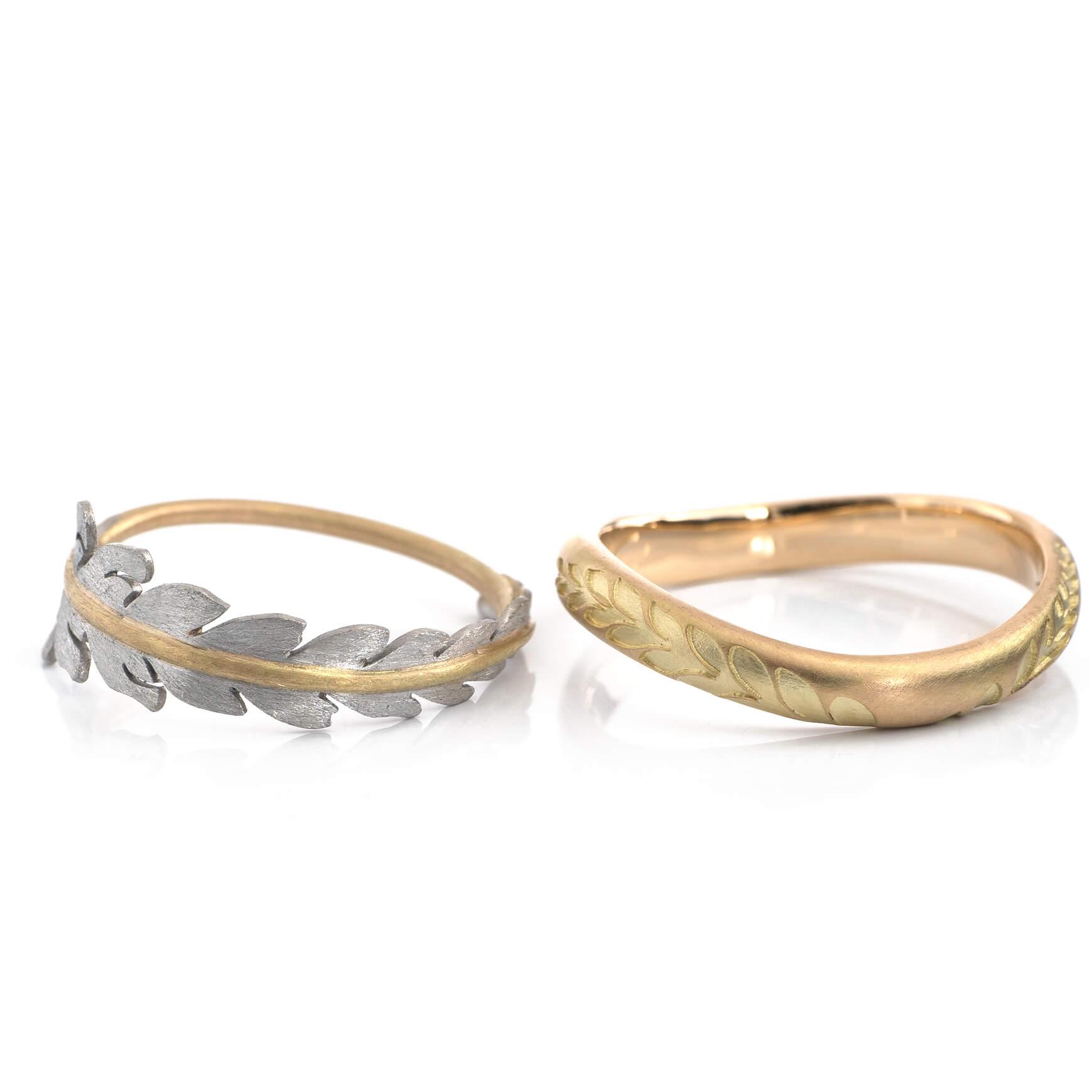 a pair of fern ring/ シダの指輪 #屋久島でつくる結婚指輪