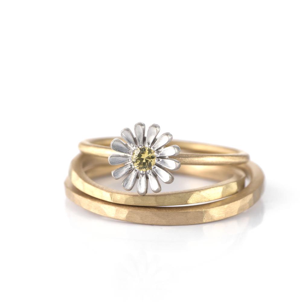 オーダーメイドマリッジリング 白バック ゴールド 屋久島で作る結婚指輪