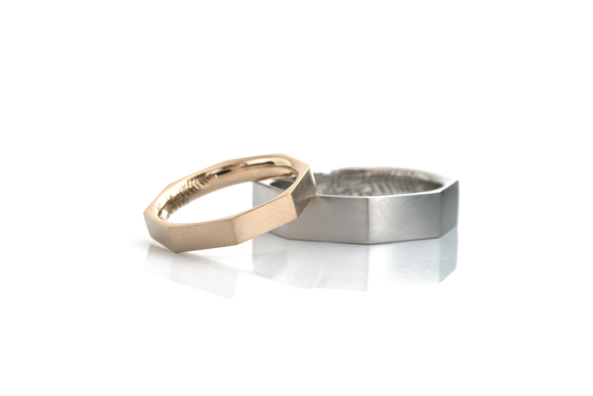 Octagon ring in platinum and champagne gold #屋久島でつくる結婚指輪