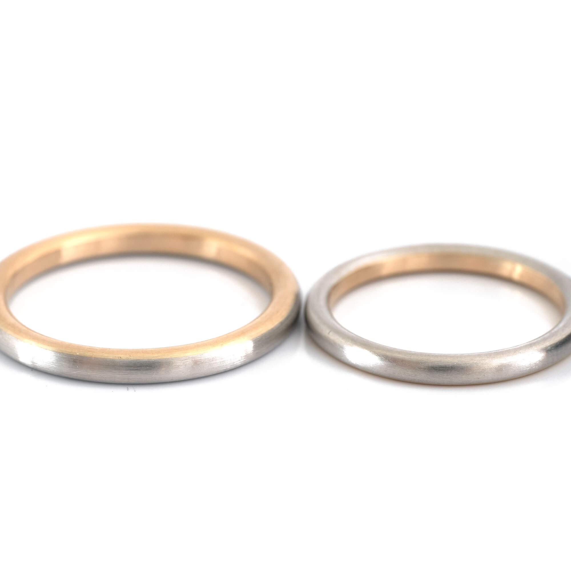 オーダーメイドマリッジリング 白バック ゴールド、プラチナ 屋久島の水平線モチーフ 屋久島でつくる結婚指輪
