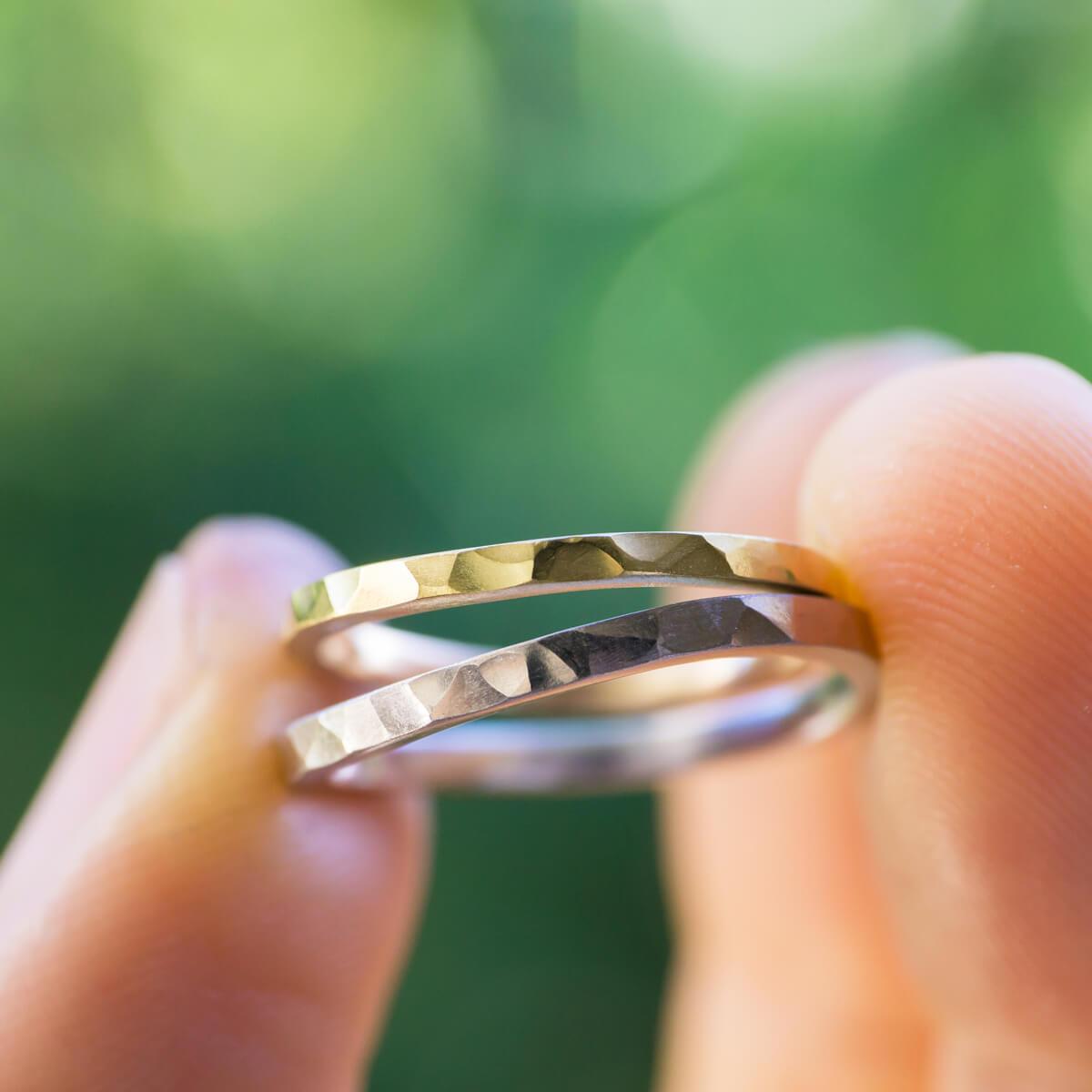 オーダーメイドマリッジリング 屋久島の緑バック ゴールド、プラチナ 屋久島でつくる結婚指輪
