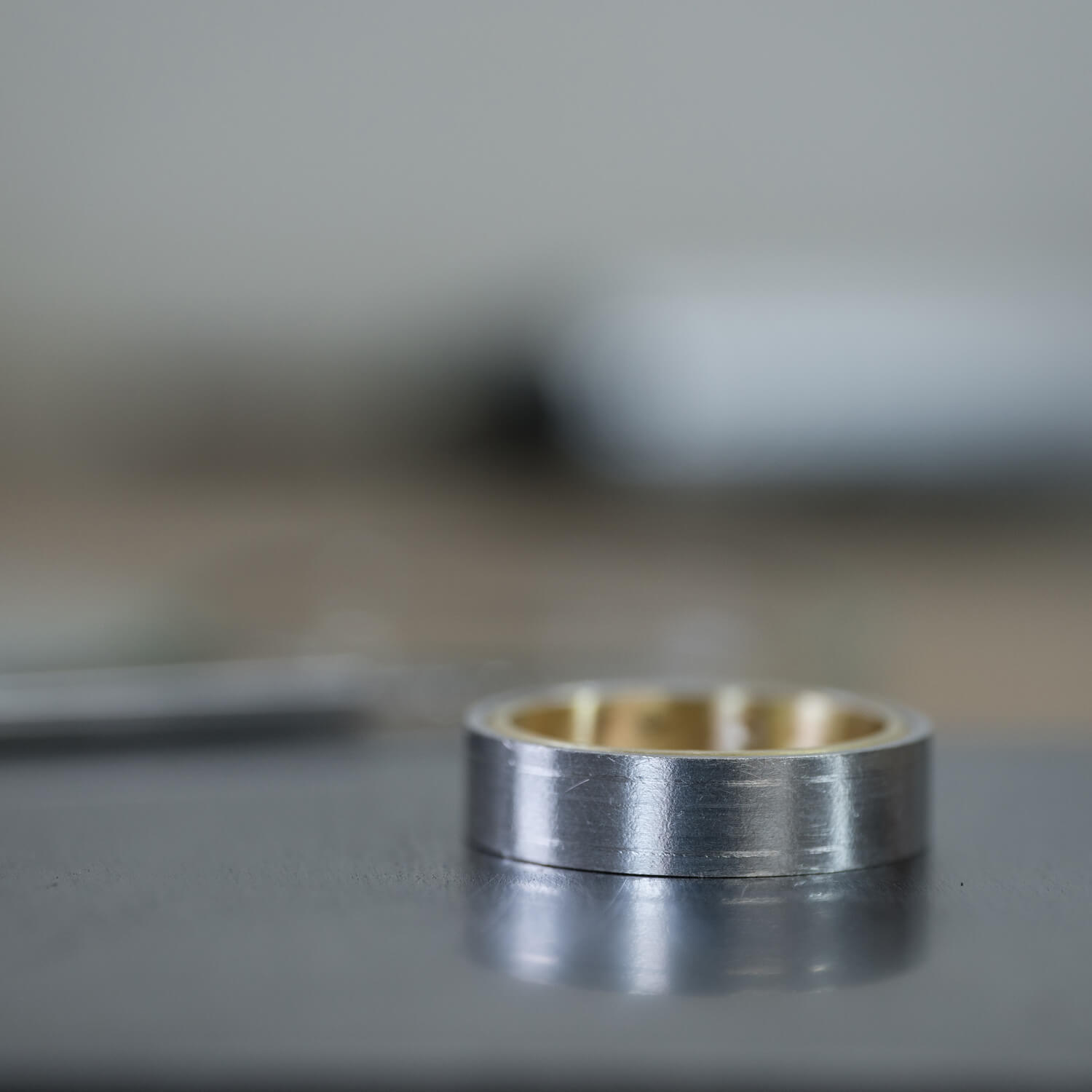platinum and yellow gold bimetal ring in the works