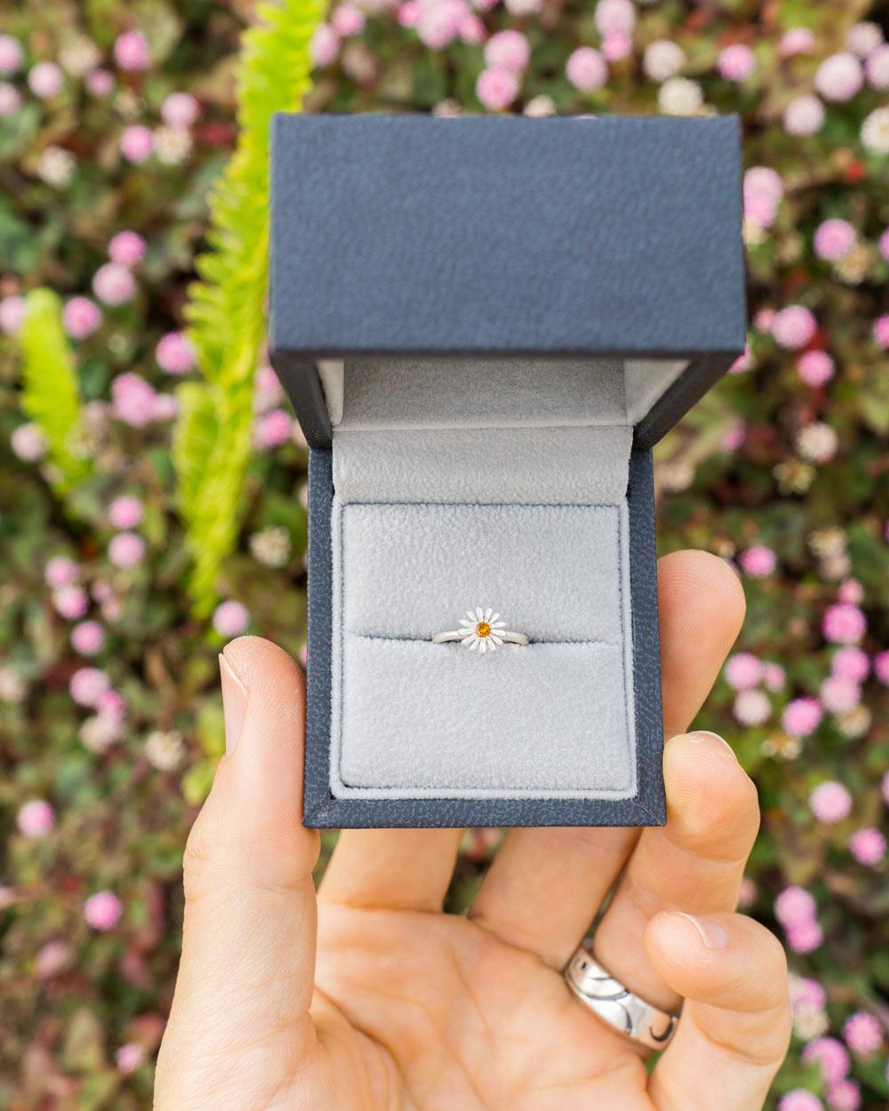 お花の指輪 オーダーメイドベビーリング シルバー 屋久島のツワブキモチーフ 屋久島でつくる結婚指輪