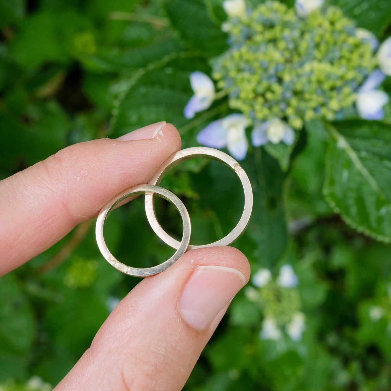 オーダーメイドマリッジリングの制作過程 屋久島の紫陽花バック ゴールド 屋久島でつくる結婚指輪