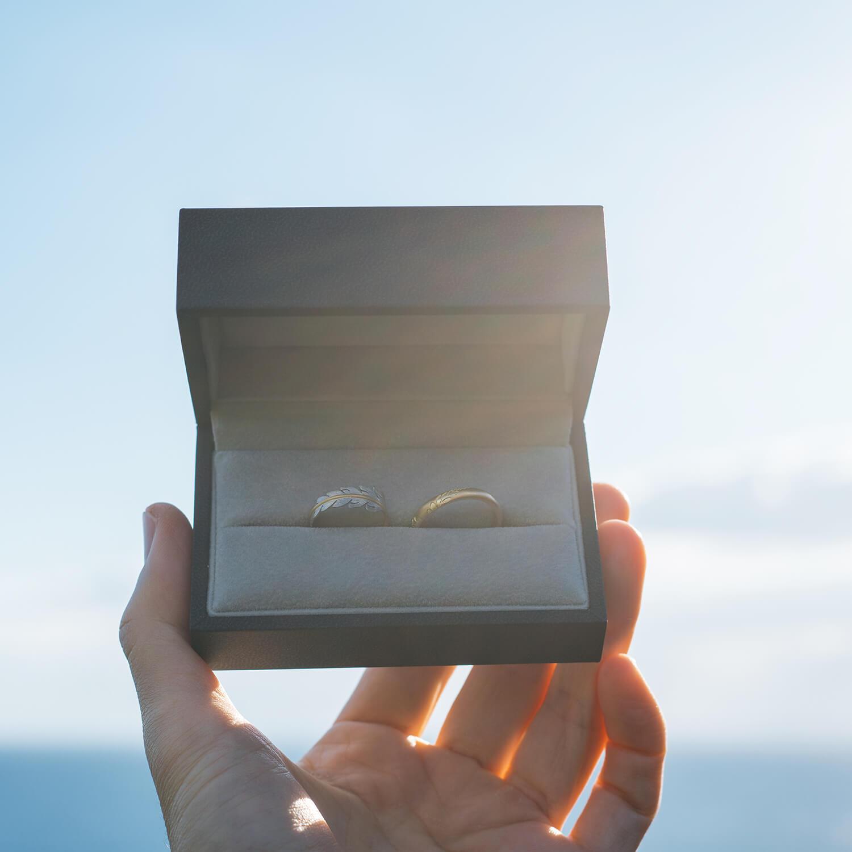 屋久島の海、ジュエリーケースを手に、逆光 オーダーメイドマリッジリング ゴールド、プラチナ 屋久島海とジュエリー