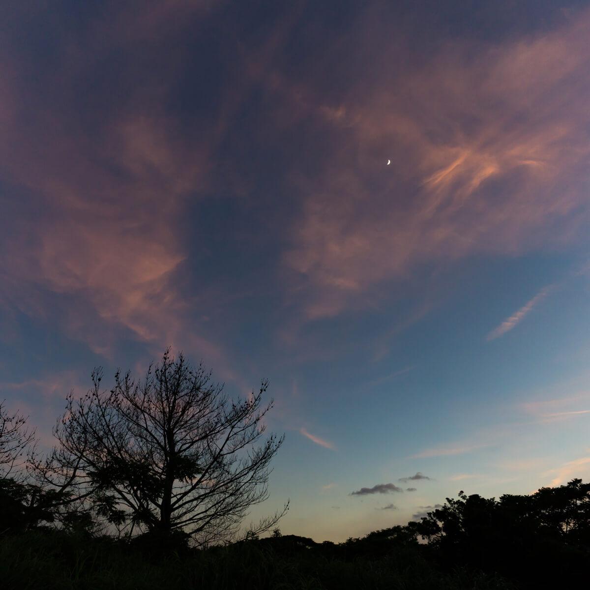 夕暮れ時の空、夕焼け 三日月 屋久島日々の暮らしとジュエリー オーダーメイド結婚指輪のモチーフ