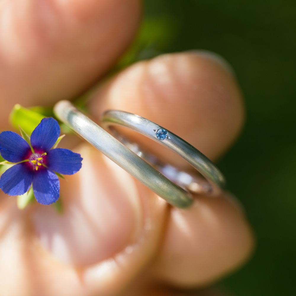 オーダーメイドマリッジリング 屋久島の緑バック 屋久島春の花 プラチナ、シルバー 屋久島で作る結婚指輪
