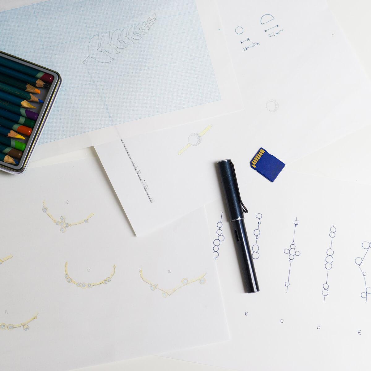オーダーメイドマリッジリングのデザイン風景 ダイヤモンドリング、プラチナ結婚指輪 屋久島でつくる結婚指輪