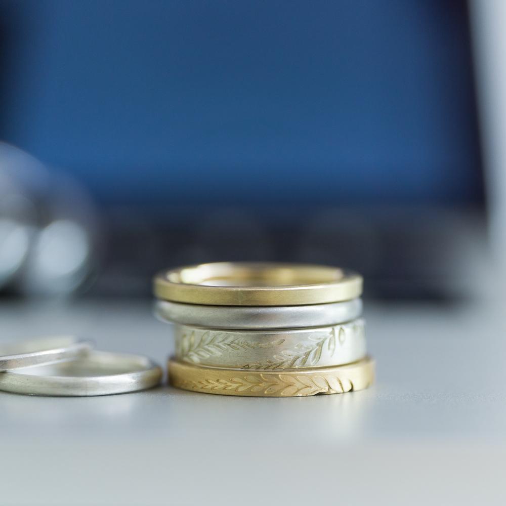 結婚指輪のサンプル6本 ゴールド、シルバー 屋久島でつくる結婚指輪
