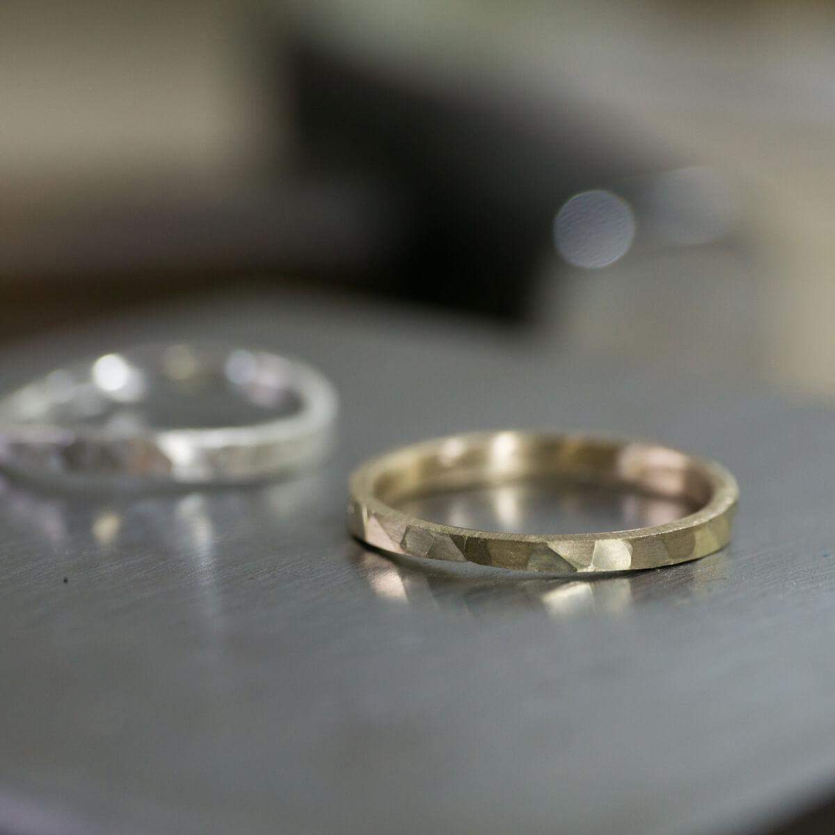 オーダーメイドマリッジリングの制作風景 ジュエリーのアトリエ ゴールドリング 屋久島でつくる結婚指輪 角度2