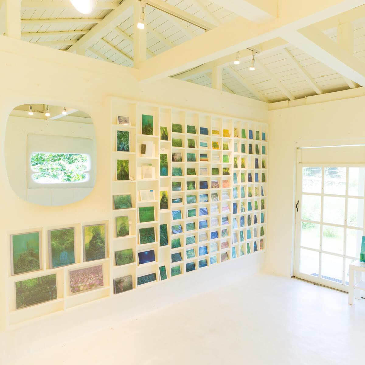 屋久島しずくギャラリー 室内 ポストカード、絵画、ジュエリーの販売、展示