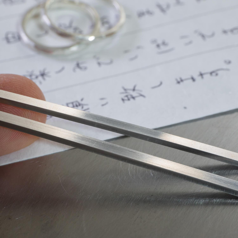 オーダーメイド結婚指輪の制作風景 素材と手紙 屋久島ジュエリーのアトリエ プラチナリング   屋久島でつくる結婚指輪