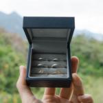 オーダーメイドマリッジリングのサンプルリング 屋久島の山々バック ゴールド、シルバー、ダイヤモンド 屋久島でつくる結婚指輪
