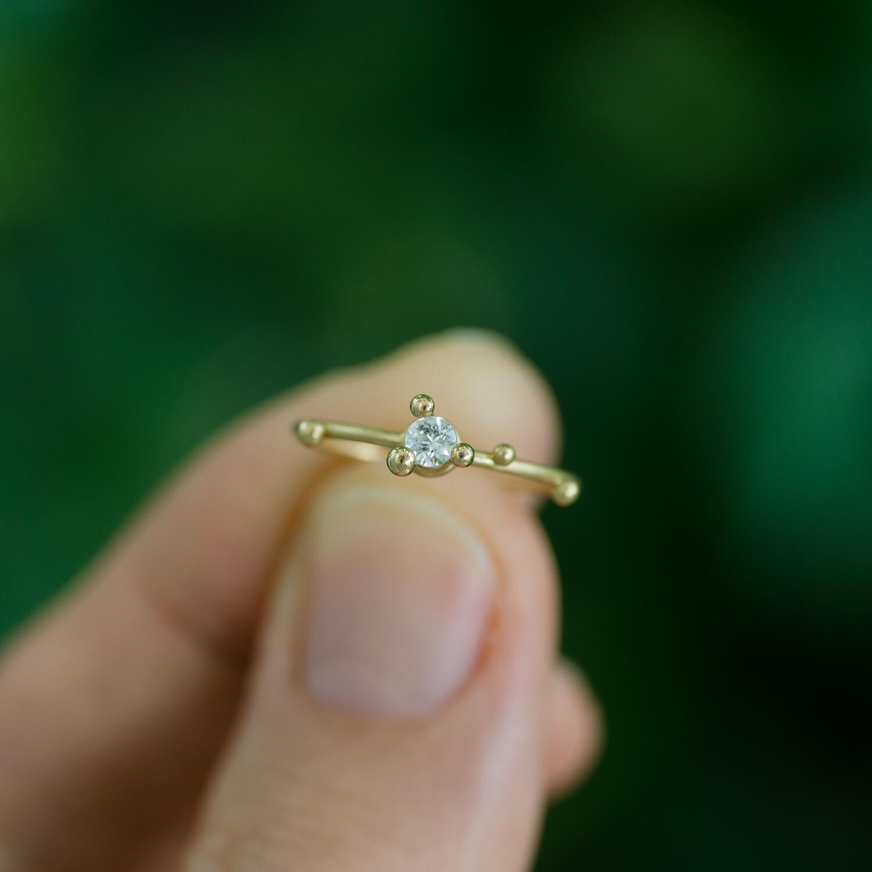 オーダーメイドダイヤモンドリング 屋久島の緑バック 屋久島でつくる婚約指輪