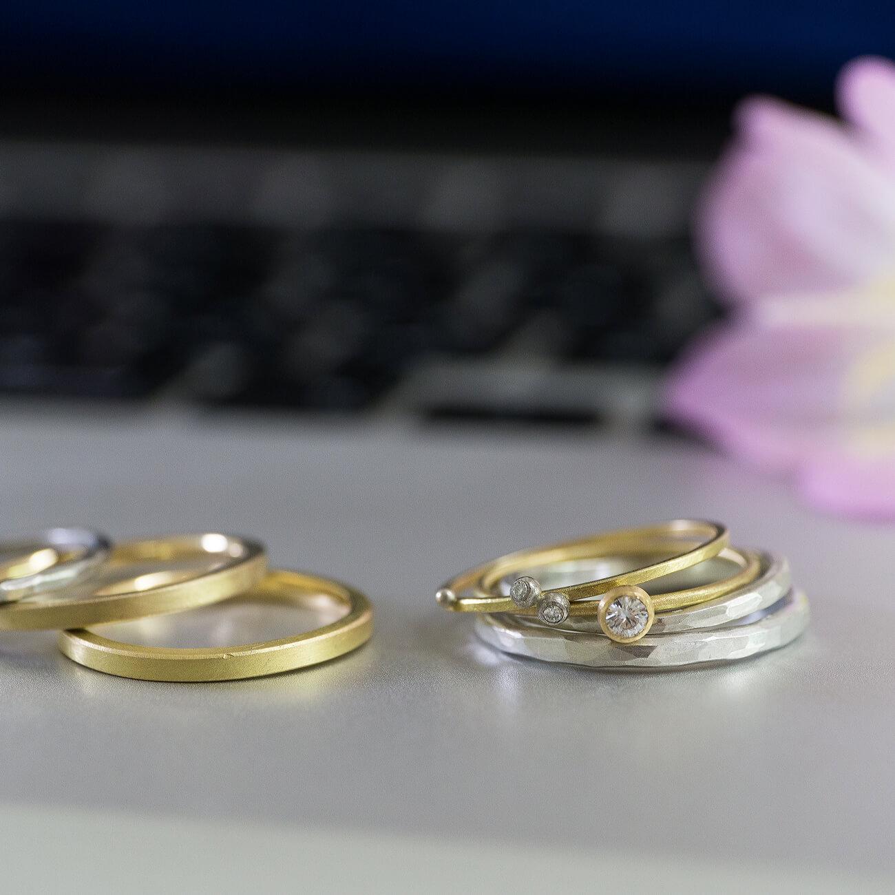 結婚指輪のサンプルリング、pcの上、屋久島の花バック ゴールド、シルバー、プラチナ、ダイヤモンド 屋久島でつくる結婚指輪