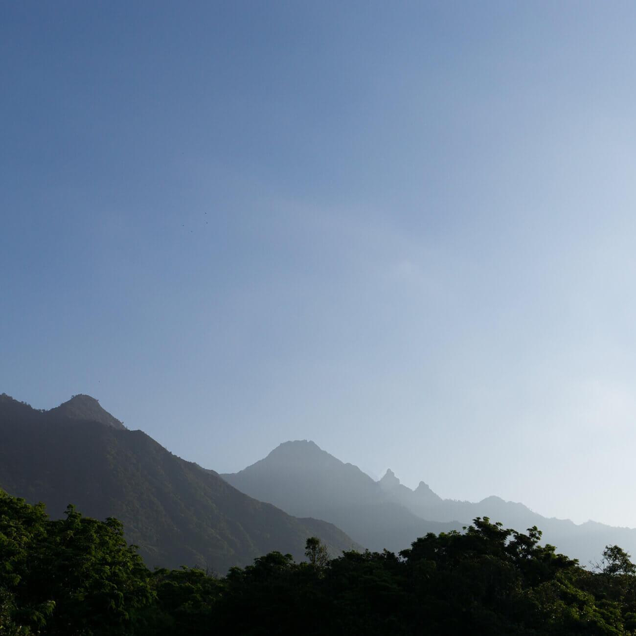 屋久島の山々、朝の空 屋久島日々の暮らしとジュエリー オーダーメイドマリッジリングのモチーフ