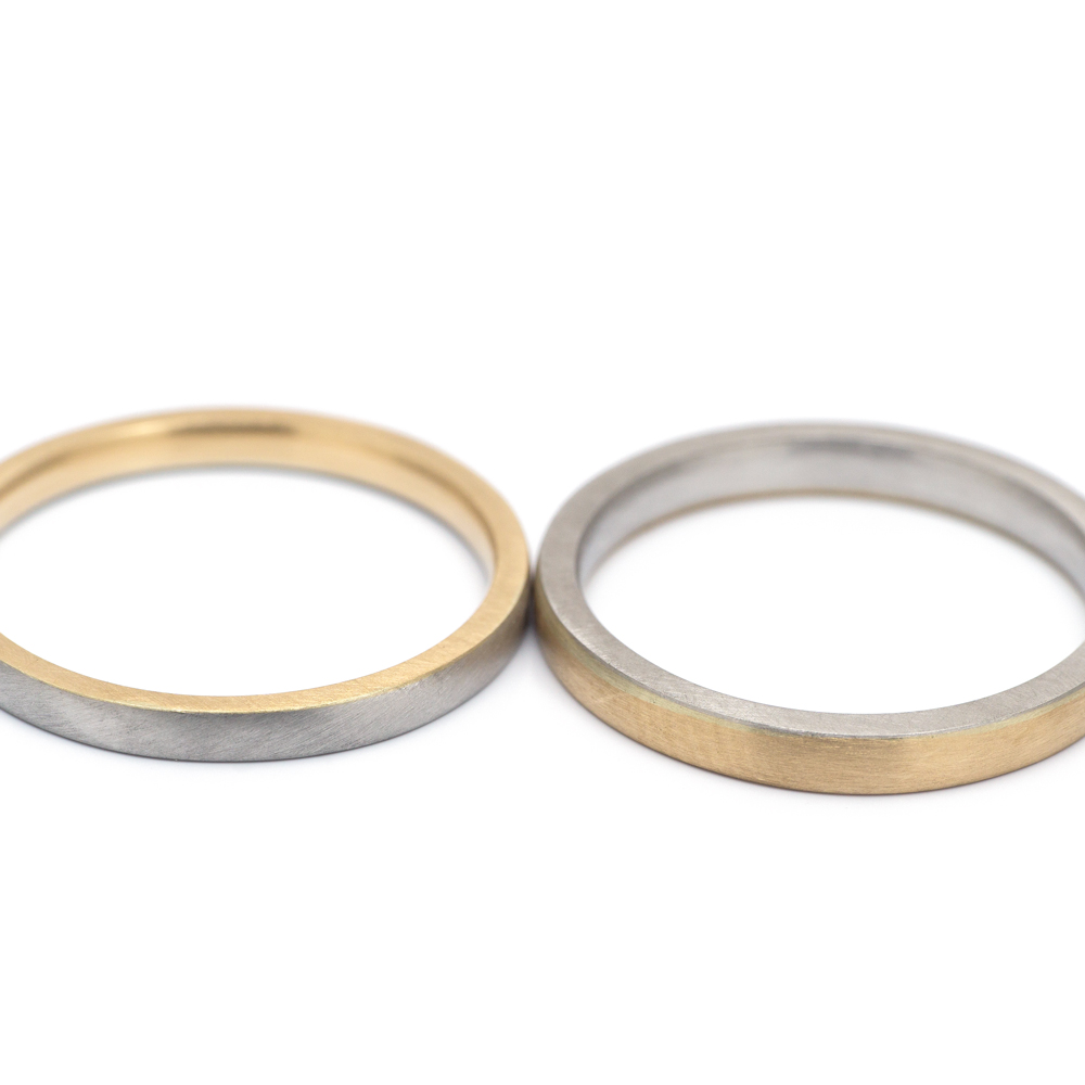 1.9mm, 2.3mm square in platinum and yellow gold