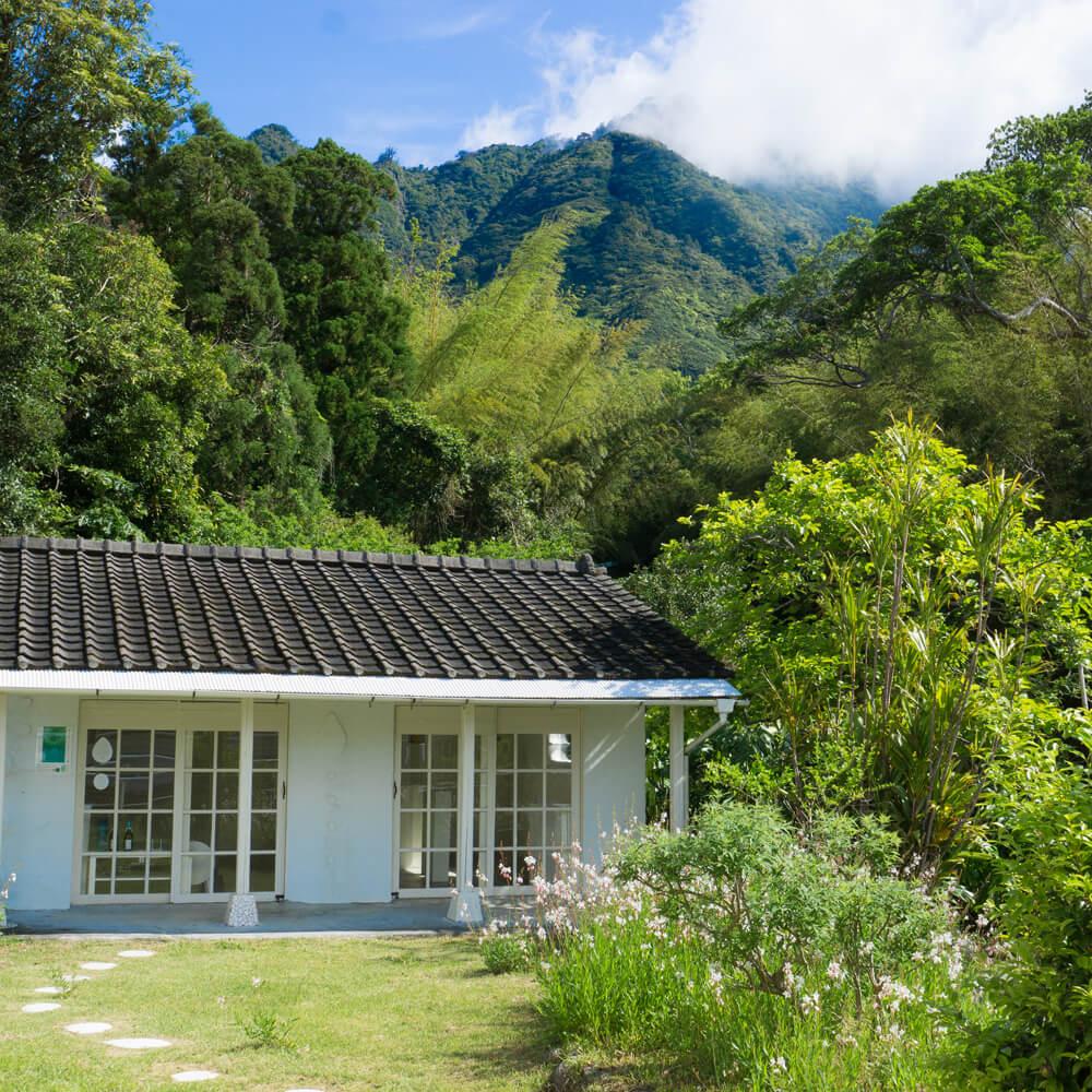 屋久島しずくギャラリー 外観 屋久島の新緑、青空 オーダーメイドマリッジリングの販売 屋久島でつくる結婚指輪