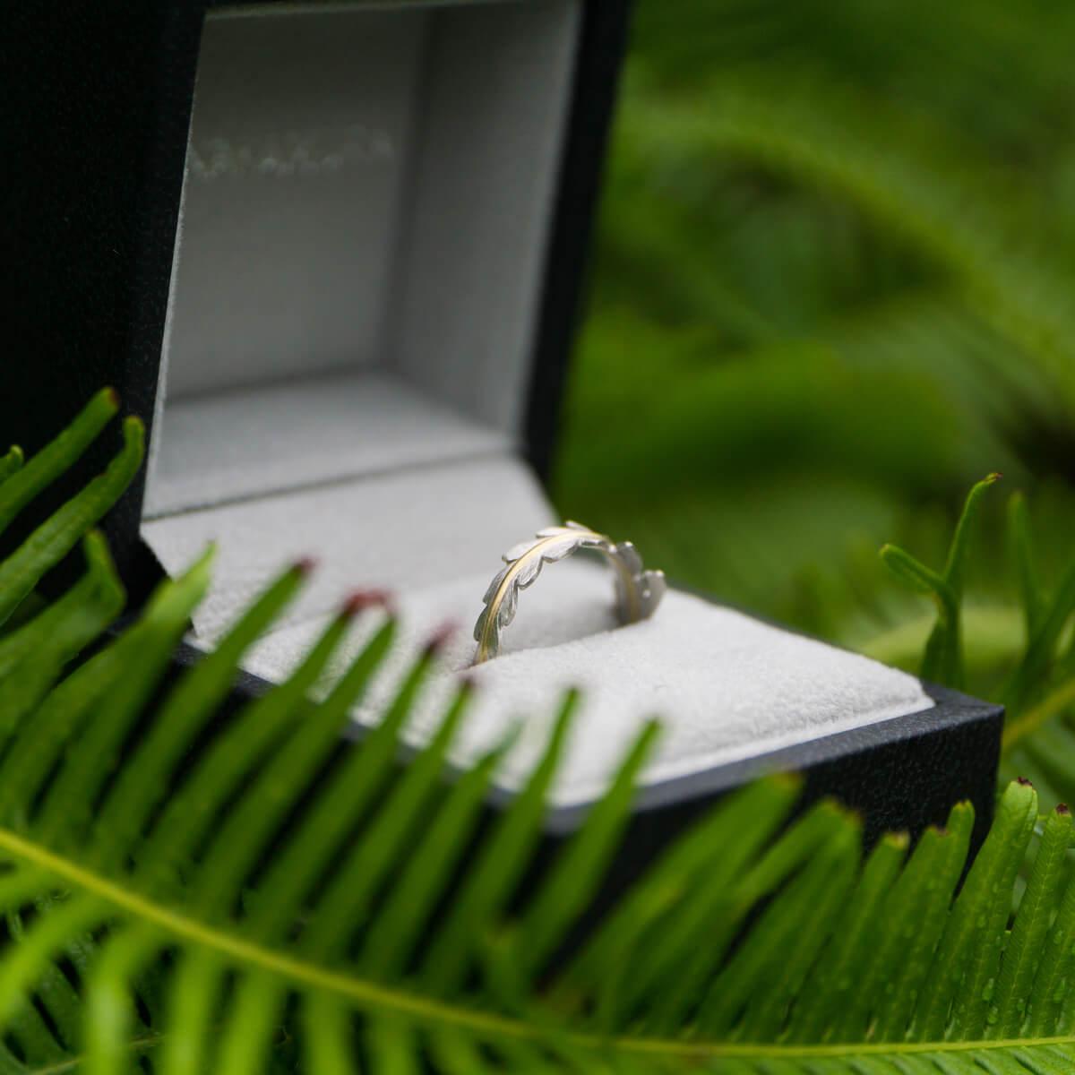 角度2 ケースの中、オーダーメイドエンゲージリング 屋久島のシダモチーフ 屋久島のシダバック プラチナ、ゴールド 屋久島でつくる結婚指輪