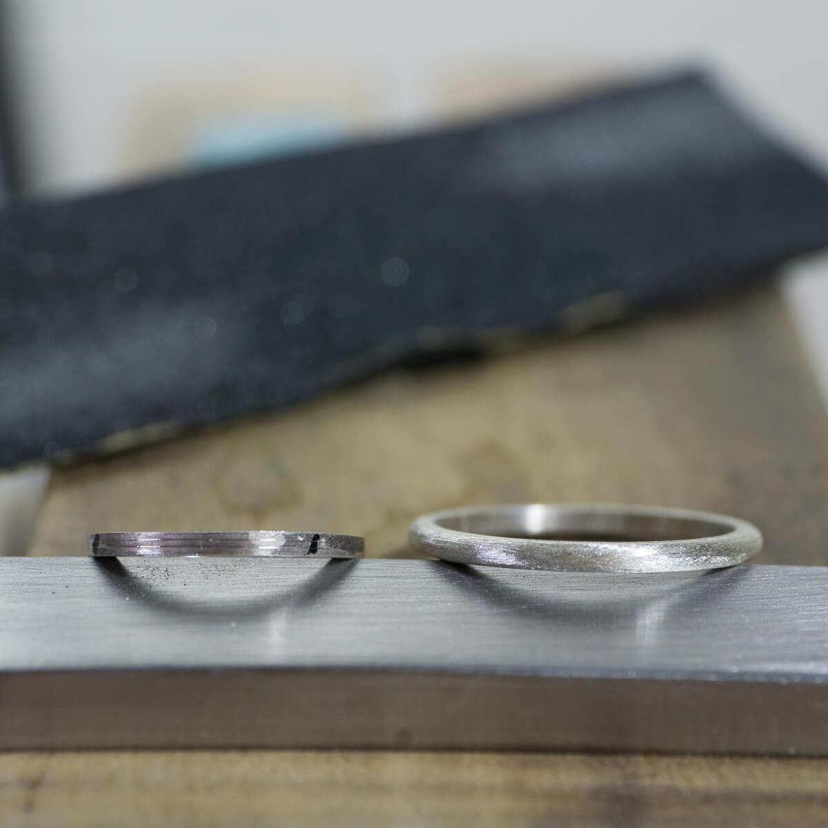 オーダーメイド結婚指輪 サンプルリングの制作風景 シルバー 屋久島でつくる結婚指輪