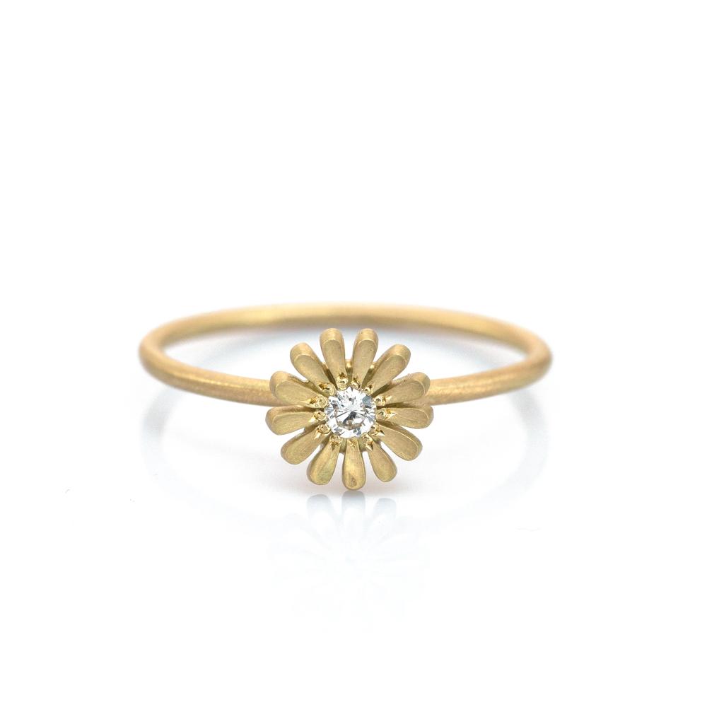 白バック お花の指輪 シルバー、ゴールド オーダーメイドジュエリー