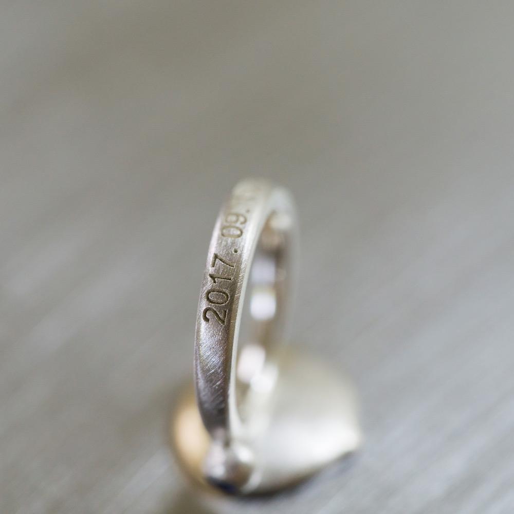リング、施された刻印 屋久島でつくる結婚指輪 ベビーリング