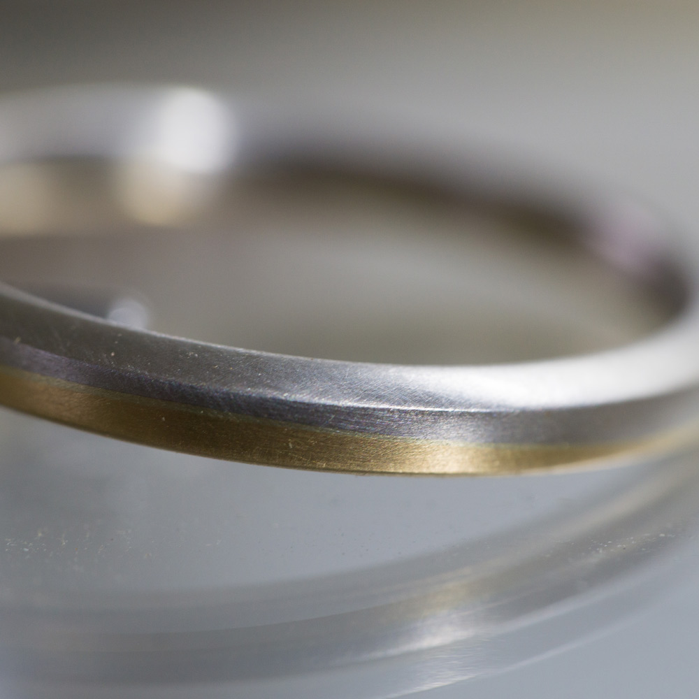 オーダーメイドのマリッジリング 角度2 プラチナ、ゴールド 屋久島でつくる結婚指輪