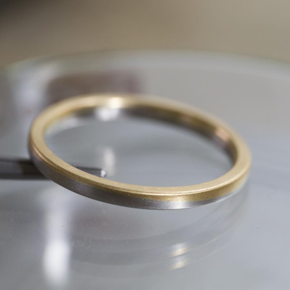 オーダーメイドのマリッジリング 角度3 プラチナ、ゴールド 屋久島でつくる結婚指輪