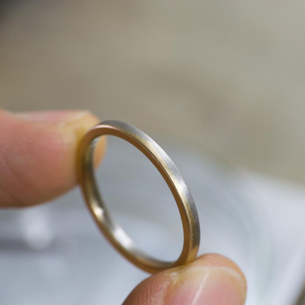 オーダーメイドのマリッジリング 角度4 プラチナ、ゴールド 屋久島でつくる結婚指輪