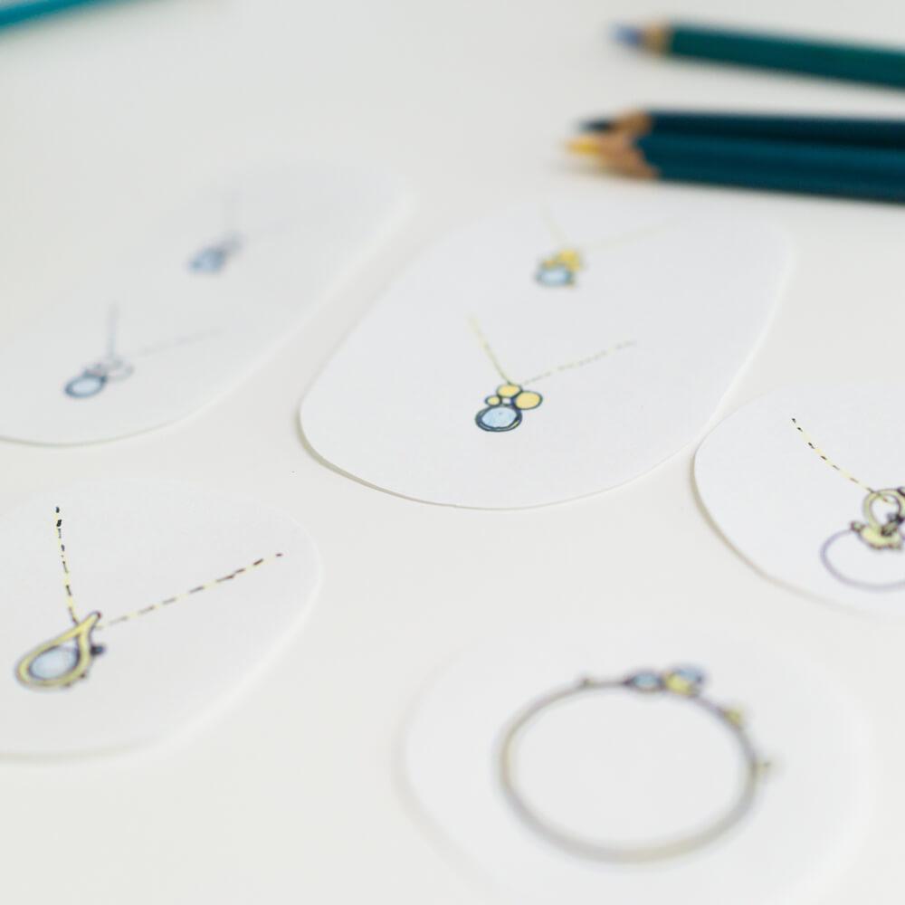オーダーメイドジュエリーのデザイン画 屋久島の自然をモチーフ 屋久島でつくる結婚指輪