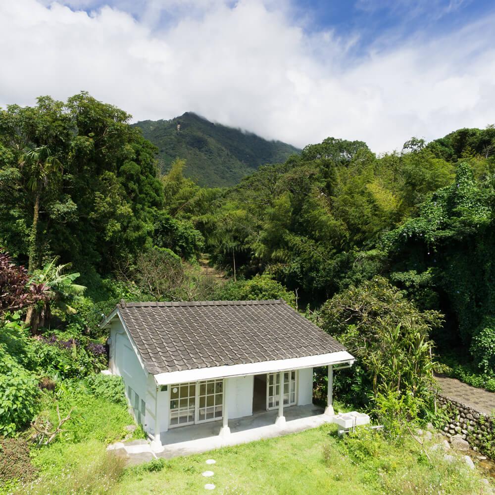 屋久島しずくギャラリー外観 屋久島の緑、青空 オーダーメイドジュエリーの販売 屋久島でつくる結婚指輪