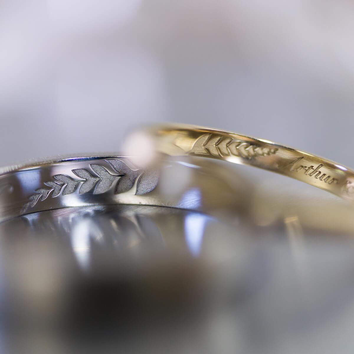 オーダーメイド結婚指輪 ジュエリーのアトリエ ゴールド、プラチナ 内側に屋久島のシダ模様 屋久島でつくる結婚指輪