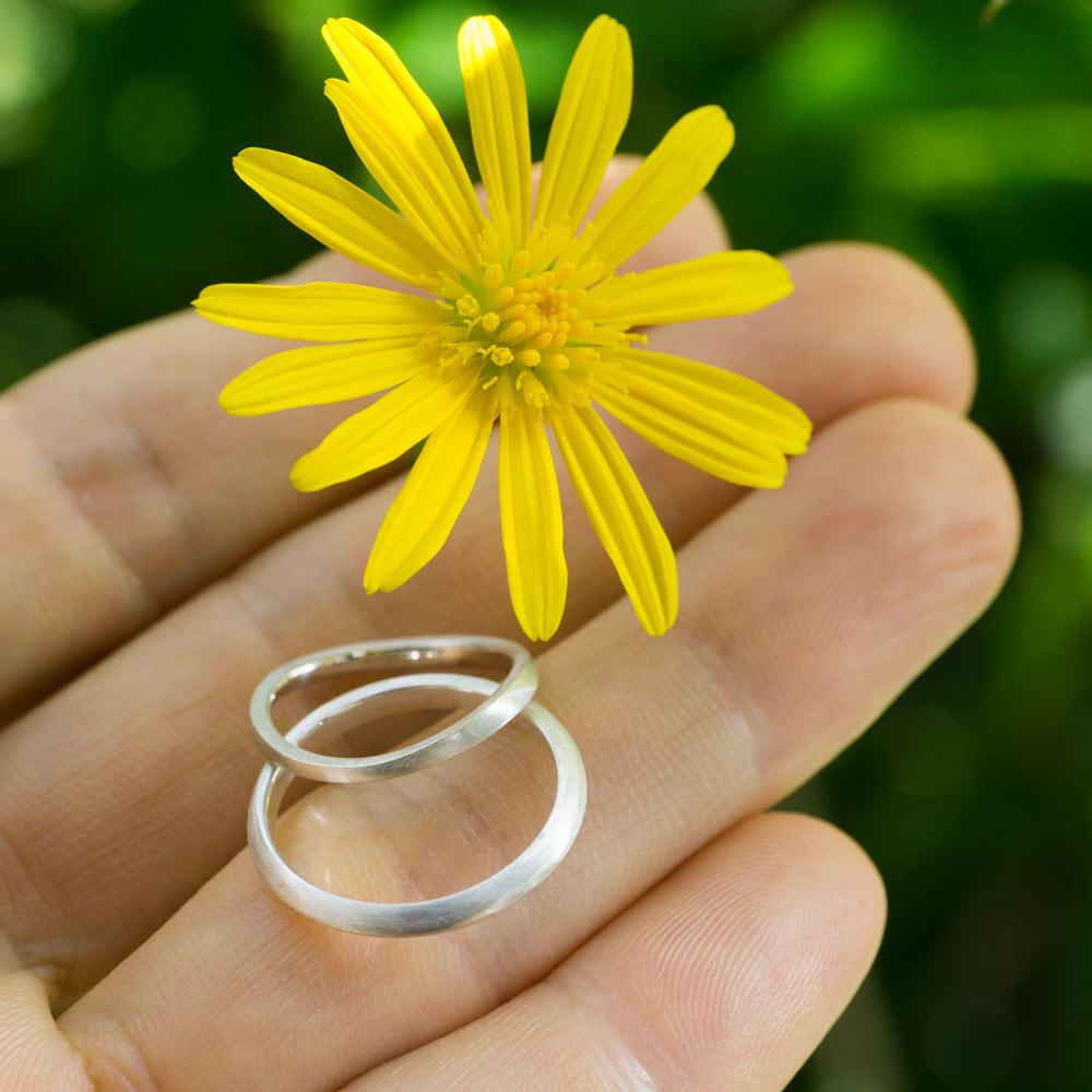 屋久島の花 シルバーのリング オーダーメイド結婚指輪のサンプル