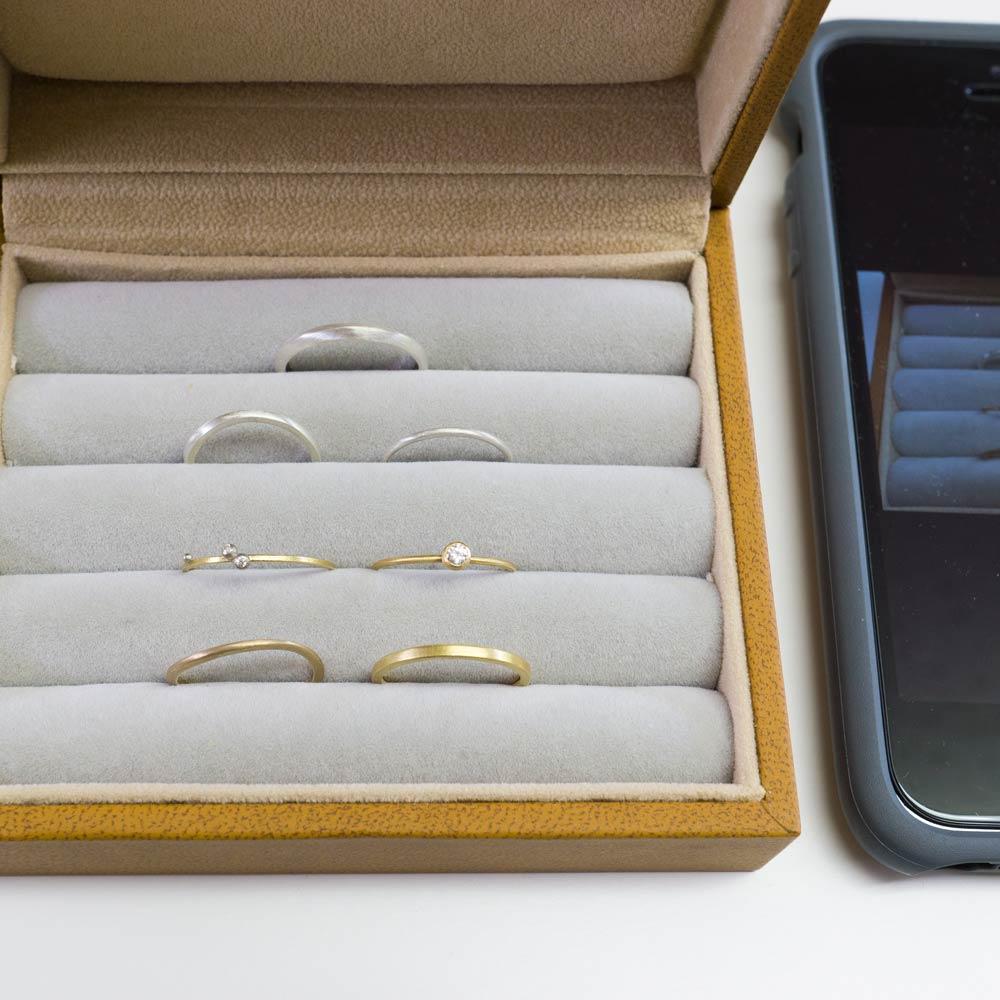 屋久島で作る結婚指輪 サンプルリング シルバー、ゴールド、ダイヤモンド オーダーメイドのマリッジリング