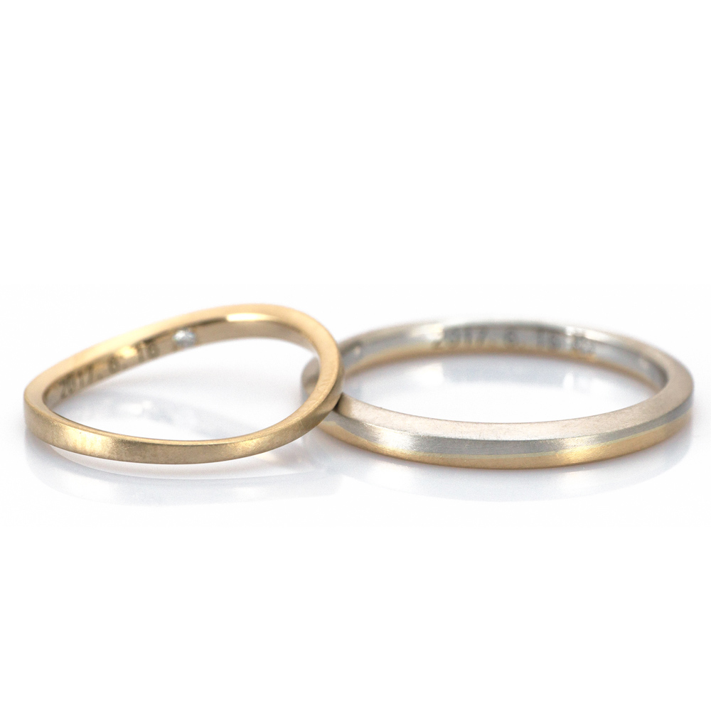2.3mm,1.9mm platinum and yellow gold in wave pattern #屋久島でつくる結婚指輪