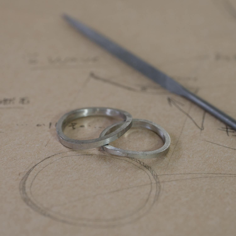 オーダーメイドマリッジリングの制作風景 屋久島ジュエリーのアトリエ デザイン画、プラチナリング  屋久島でつくる結婚指輪
