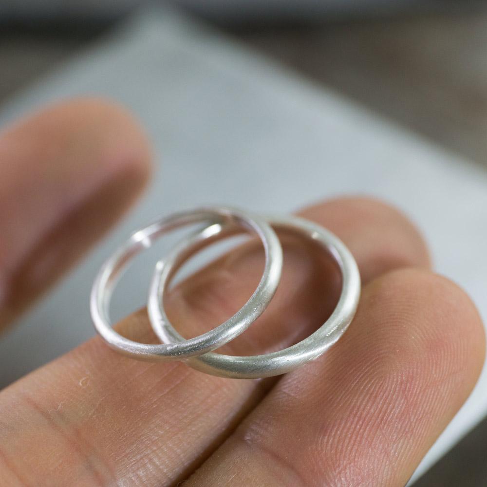 オーダーメイドマリッジリングの制作風景 ジュエリーの作業場 シルバーでサンプル 屋久島で作る結婚指輪