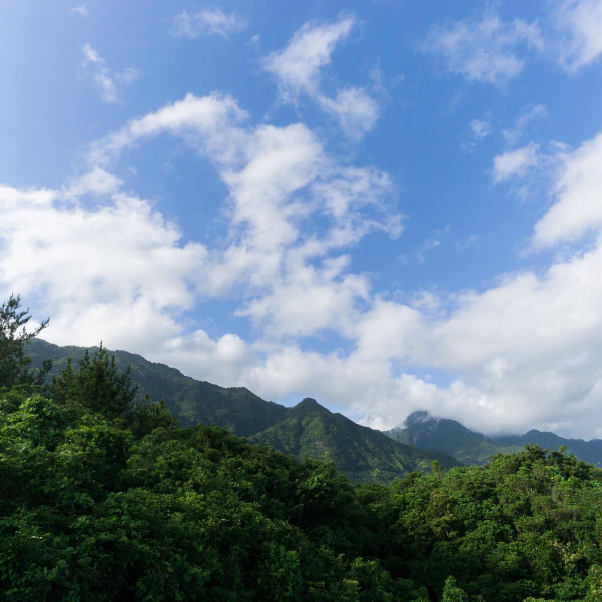 屋久島の山々、青空 屋久島山とジュエリー オーダーメイドジュエリーのモチーフ