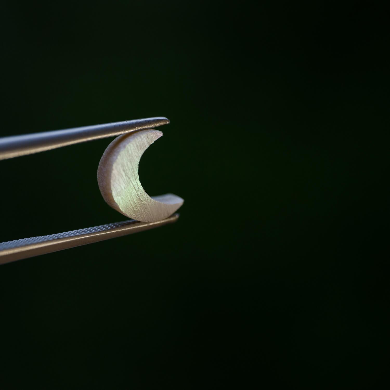 屋久島ジュエリーのアトリエ 屋久島の緑バック オーダーメイドジュエリーの制作風景 屋久島の夜光貝
