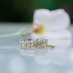 オーダーメイドエンゲージリング 屋久島の花バック ゴールド、ダイヤモンド 屋久島でつくる結婚指輪